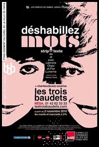 Déshabillez-mots, france inter, théâtre des trois baudets, theatre, trois baudets, strip-texte, léonore chaix, flor lurienne