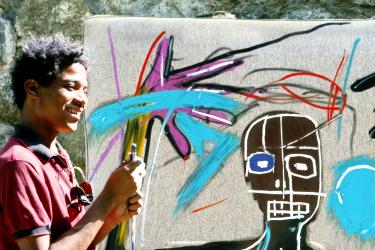 jean-michel basquiat, basquiat, exposition, rétrospective, parcours, biographie, galerie, musée d`art moderne, mam, paris, peinture, dessin, dessins, peintures, couronne, crâne, overdose, new york