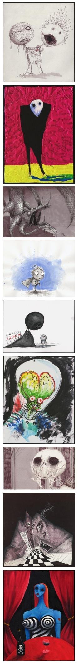 tim burton, the melancholy death of oyster-boy and other stories, la triste fin du garçon-huître et autres histoires, the art of tim burton, faber and faber, derek frey, leah gallo, holly C. Kempf