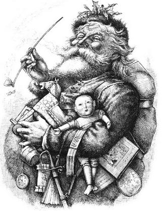 père noel, pere, noel, santa claus, claus, santa, nicolas, saint, myre, mythe, conte, histoire, biographie, coca, cola, harper, illustration, dessin, photo, image