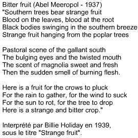 Strange fruit Bitter fruit Billie Holiday Aber Meerepol 1937 1939